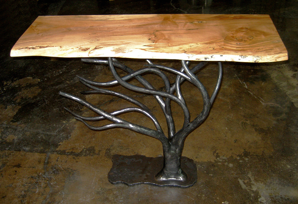 Tree Table - locally grown spalted sugar maple top with hand-forged iron base