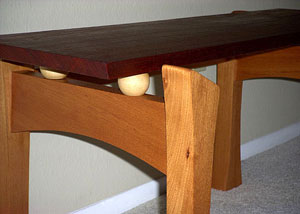 Modern Bench - Padauk - end detail
